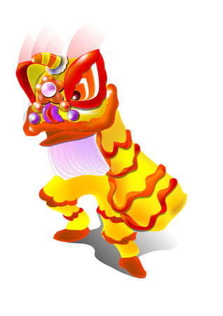 lion dance in vector, illustration. one tradition activity in Chinese new year Illustration