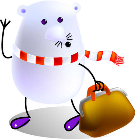farewell: Mouse bring his bag and going to travel, cartoon, vector, illustration