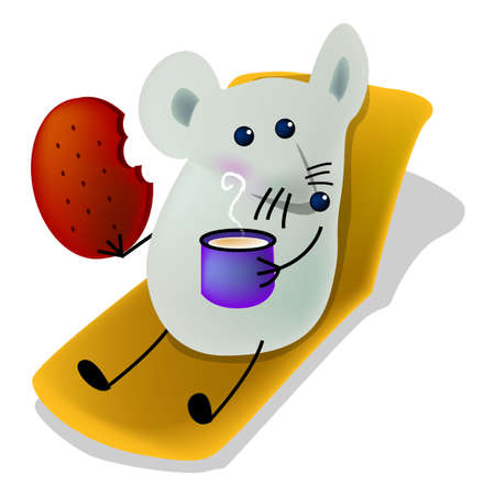 Little mice eating biscuit and drinking milk, cartoon, vector, illustration Illustration
