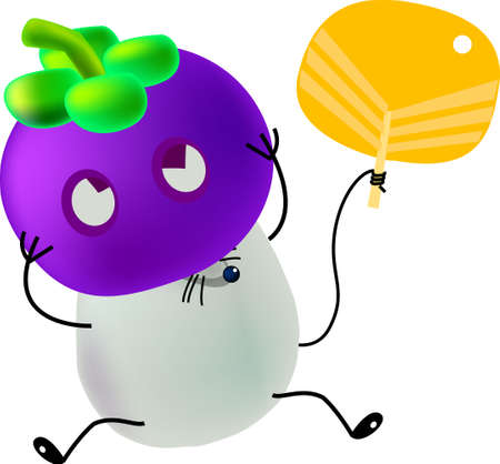 little mice put on a mask made by a fruit, mangosteen, cartoon, vector, illustration