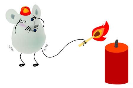 letting: little mice is letting off, firecrackers, cartoon, vector, illustration Illustration