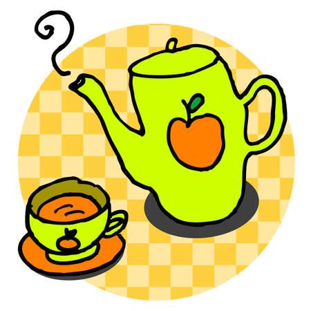 tea set: a tea set with apple texture on it, vector, illustrator Illustration