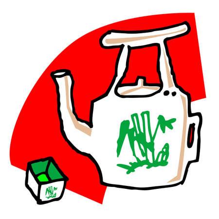 tea set: a tea set, vector, illustrator