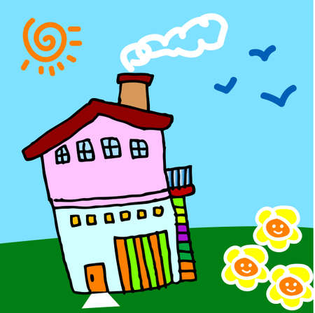 childrens art: my sweet home, vector, illustration Illustration