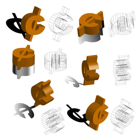 Symbols For Cent 3d Illustration Vector Royalty Free Cliparts