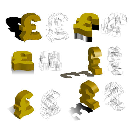 british money: symbols for �, pounds, British money, 3d, illustration, vector Illustration