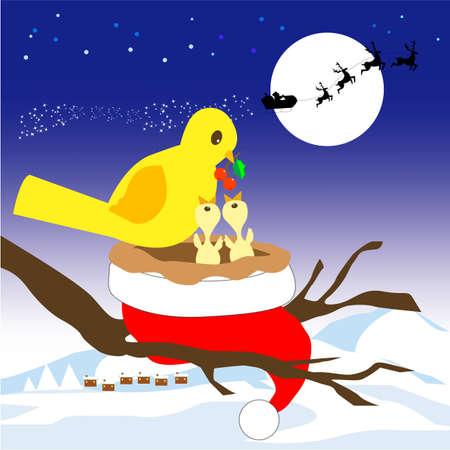 santa gave his hat for yellow birds as a gift, cartoon, vector Vector