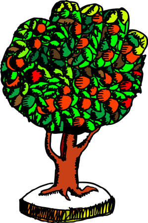 fruitful: vector illustration for a palm shape tree with a lot of fruits, means teamwork, power, abundant,