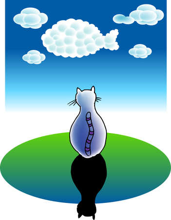a vector illustration for a cats dreams: clouds becomes a fish Vector