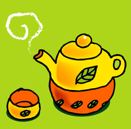tea set: a vector, illustration for a tea set with leaf texture on it