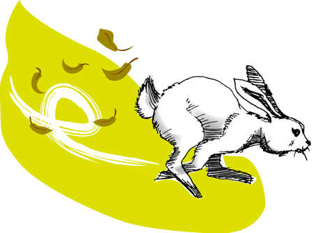 illustration, vector for a running rabbit