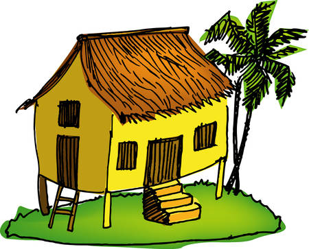 traditional house: a vector illustration for a Malay style coconut leaves house, old fashion