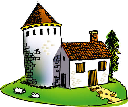 a vector illustration for a stone house, and two sheep on the grass Stock Vector - 2145462