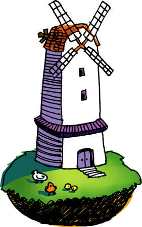 country side: a vector illustration for a windmill Illustration
