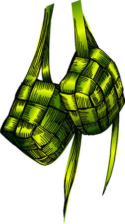 a vector illustration for two ketupat, for malay festival, Ramadan, sketch, drawing Illustration