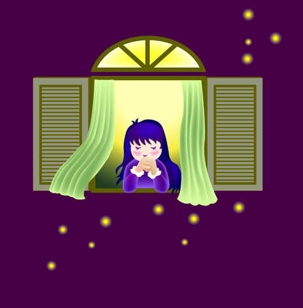 firefly: a vector illustration for a little girl is praying beside the window and some firefly outside. Illustration