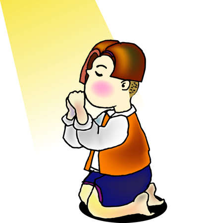 a vector illustration for a little boy is kneeling for praying and a light is shine on him