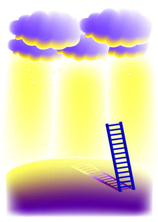 vector illustration for a stairways and a golden light from clouds, metaphors, imagination Vector