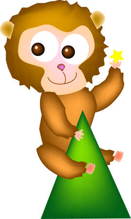 hill top: vector illustration for a giant monkey climb on top of hill and pick a star from sky