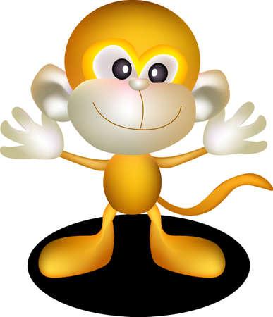 caricaturas de animales: ilustraci�n vectorial un mono para abrir sus brazos.
