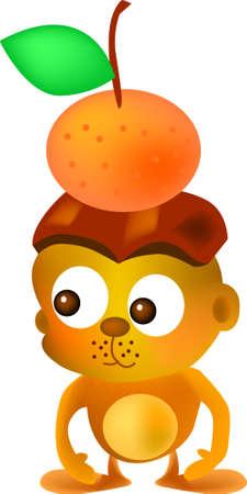 vector illustration for a monkey put a mandarin on its head Vector