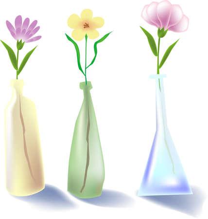natura morta con fiori: illustrazione vettoriale per un acquerello natura morta, 3 bottiglia di fiori  Vettoriali