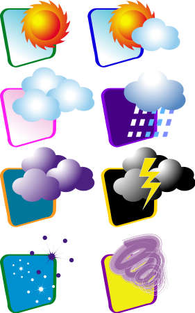 a vector, illustration for a variety icon for weather, meteorological, sun, cloud, rain, snow, thunder, twister,