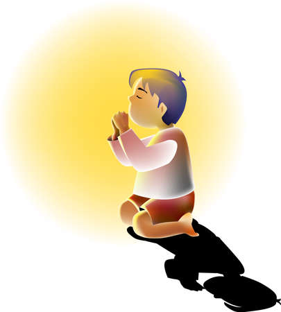 a vector illustration for a little boy is kneeling for praying and a light is shine on him Stock Vector - 2216151