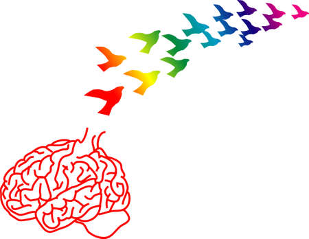 vector illustration for a broken brain cage and ideas just like birds flying away, brain drain, metaphors  Vector