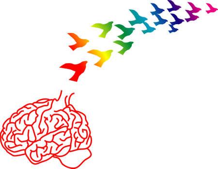 pajaros volando: vector la ilustraci�n para una jaula quebrada del cerebro y las ideas apenas como los p�jaros que vuelan lejos, fuga de cerebros, met�foras