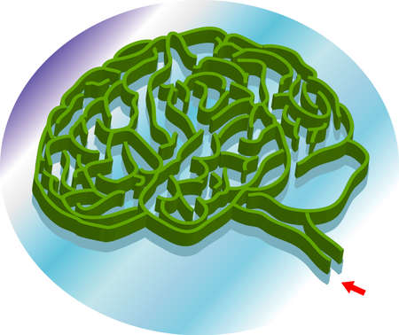 vector illustration for a brain shape maze, metaphors