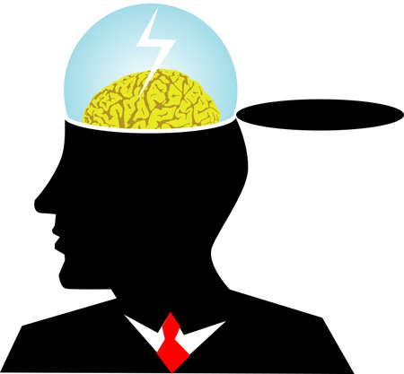 mind body: vector illustration for a business man brain storming, metaphors
