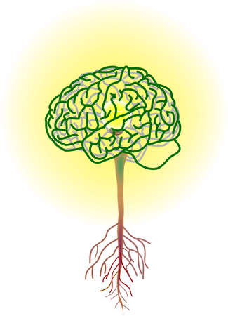 vector illustration for a brain tree, inside is a lightning bulbs, metaphors Illustration