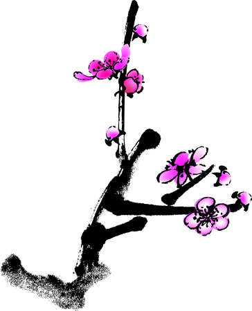 vector illustration for a artistic plum flower, china art brush painting
