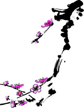 vector illustration for a artistic plum flower, china art brush painting