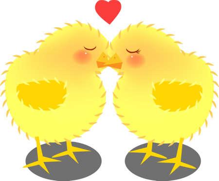 vector illustration for a pair of kissing chicks, cartoon Illustration