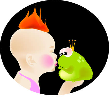 girls kissing: vector illustration for a braving girl kissing a frog prince try to break the curse and feeling like fire, legend of tales, imagination.