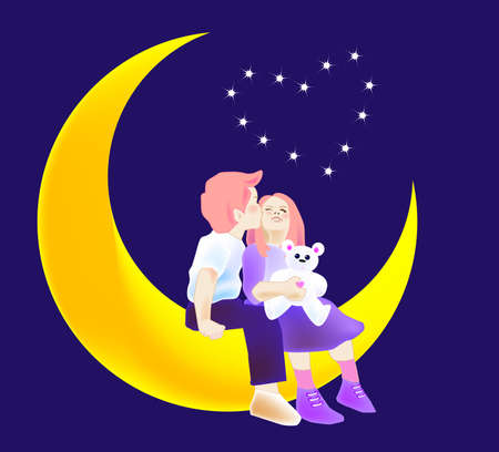 star and crescent: vector illustration for a boy kissing a girl and they are sitting on a crescent moon, imagination.