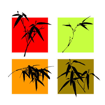 vector illustration for a variety of China traditional ink painting --bamboo, special for new year, means growth, improve.