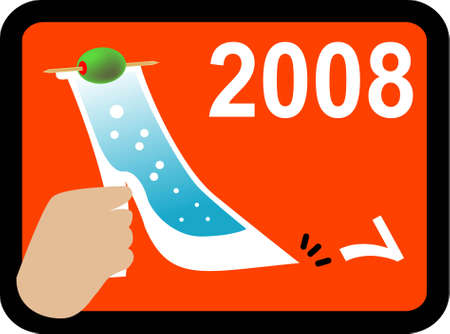 kick out: vector illustration for a hand holding a high huge shape of wine to kick off the 7 and towards 2008. Illustration