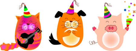 festive occasions: a vector illustration for animals in party, cat, dog, pig. fun and cute.