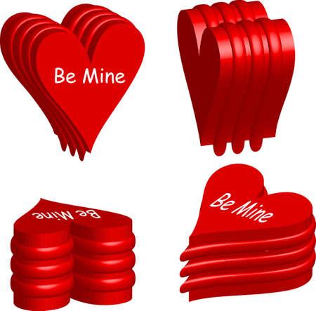 wording: vector illustration for 3d love shape element with be mine wording. Illustration