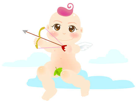 vector illustration for a baby angel is shoot an arrow Vector
