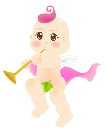vector illustration for a baby angel playing a horn, flute Vector