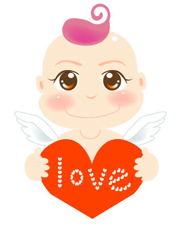 vector illustration for a baby angel holding a love Vector