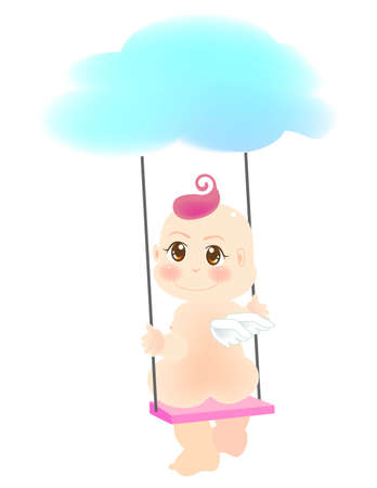 vector illustration for a baby angel is playing on the swings Vector