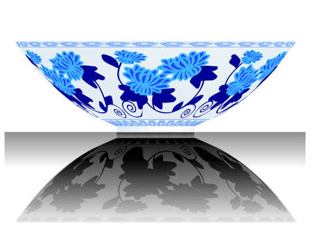 a vector, illustration for a China porcelain, pottery, bowl, reflection