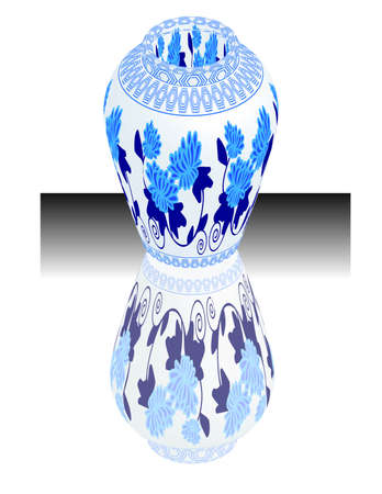 a vector, illustration for a China porcelain, pottery, vase Vector