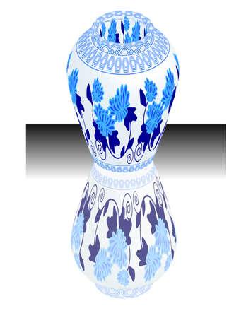 natura morta con fiori: un vettore, illustrazione per un Cina porcellana, ceramica, vaso