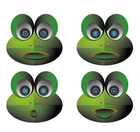 huh: vector illustration for a set icon of emotion robot frog
